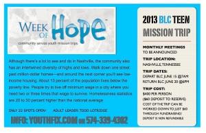 MISSION TRIP 2013